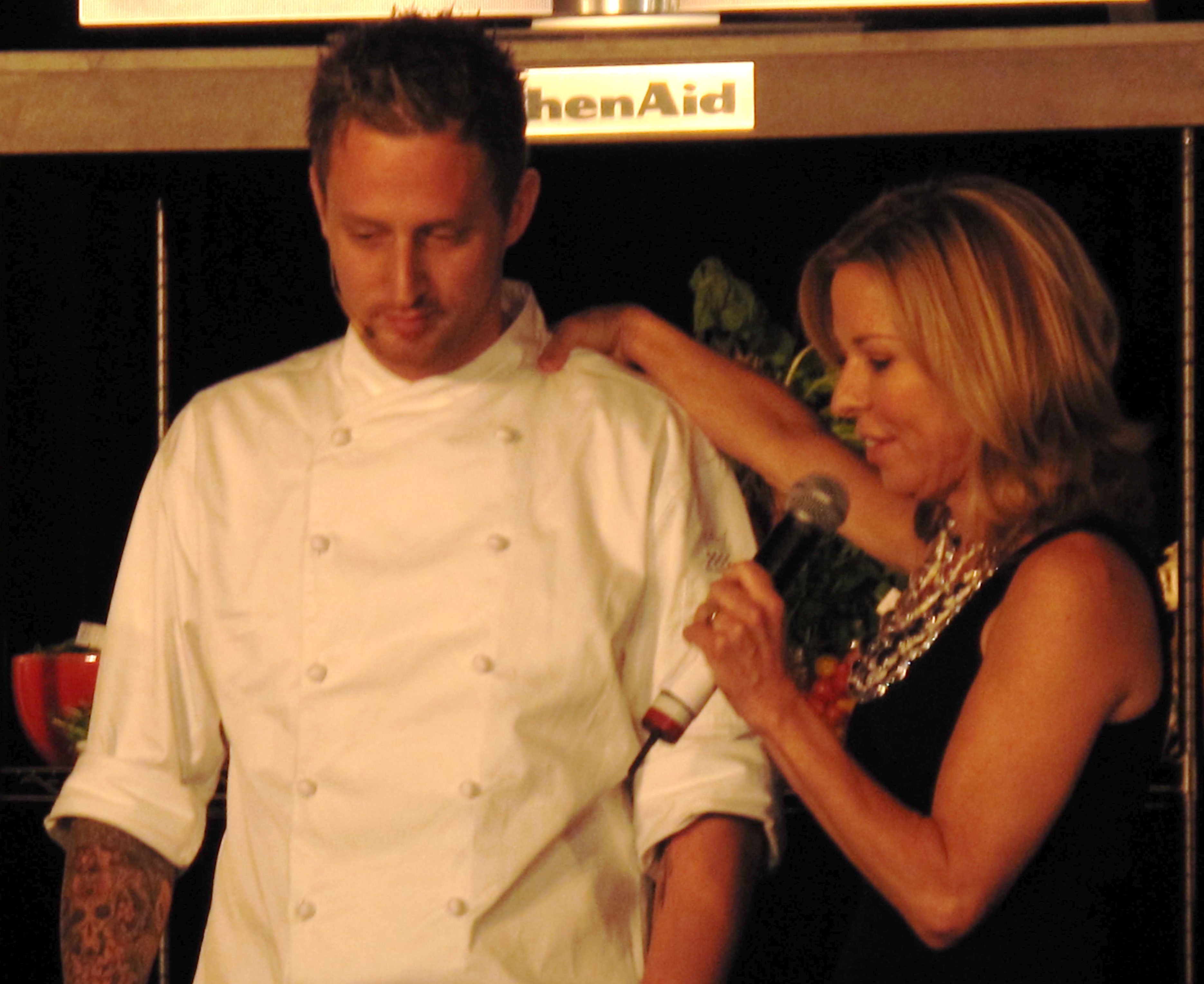 Sissy Biggers interviewing Michael Voltaggio about his plan of attack.