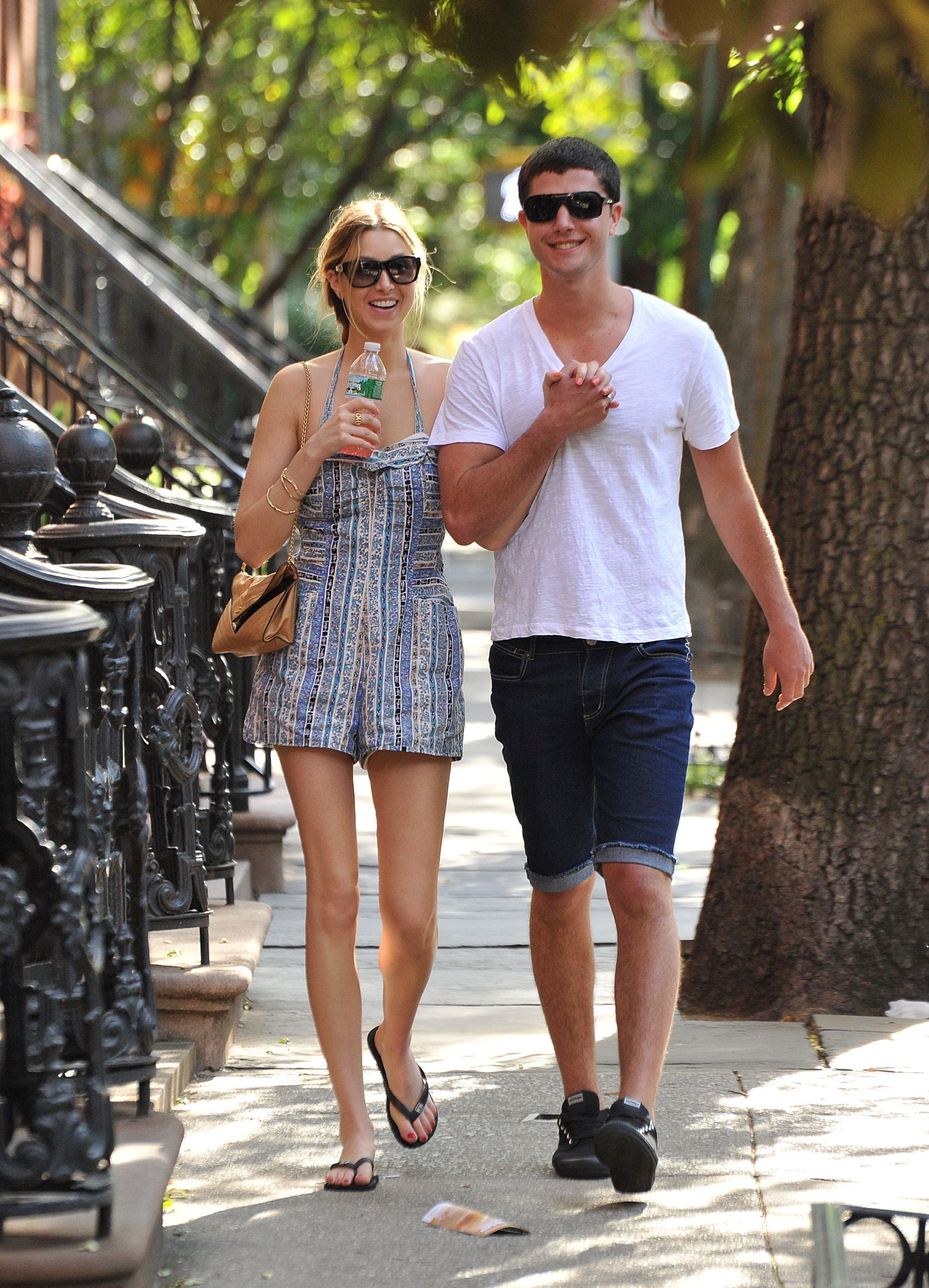 This is hot, NYC Summer style — Whitney in a sweet romper; Ben in denim.