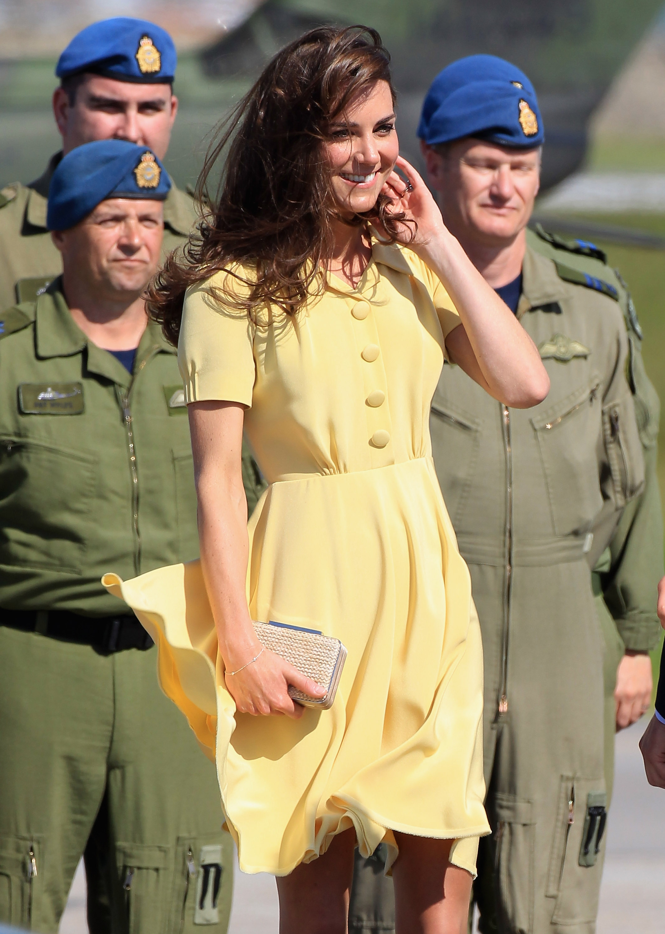 Kate's hair also faced the windy elements.