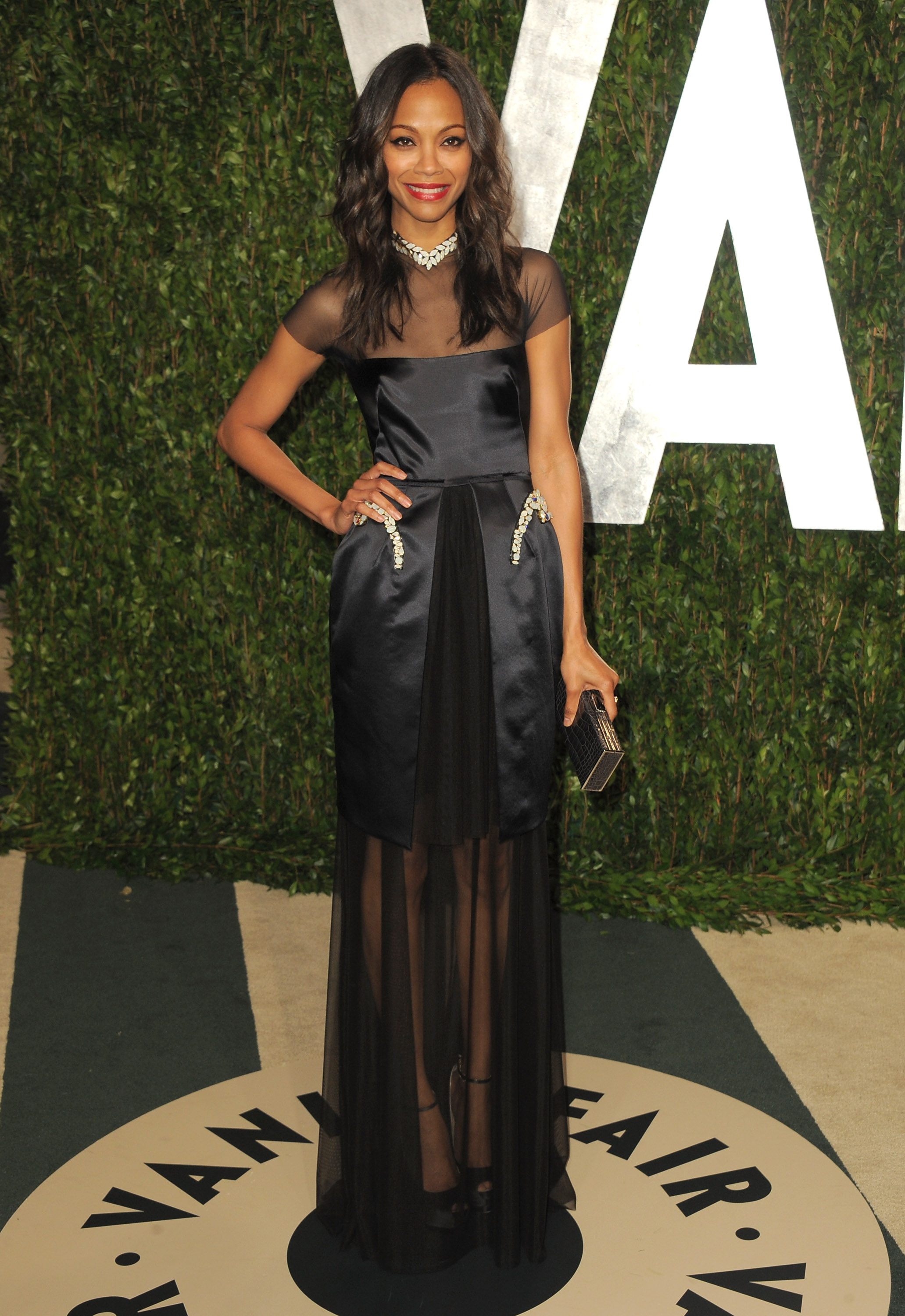Zoe Saldana at the Vanity Fair Oscar party