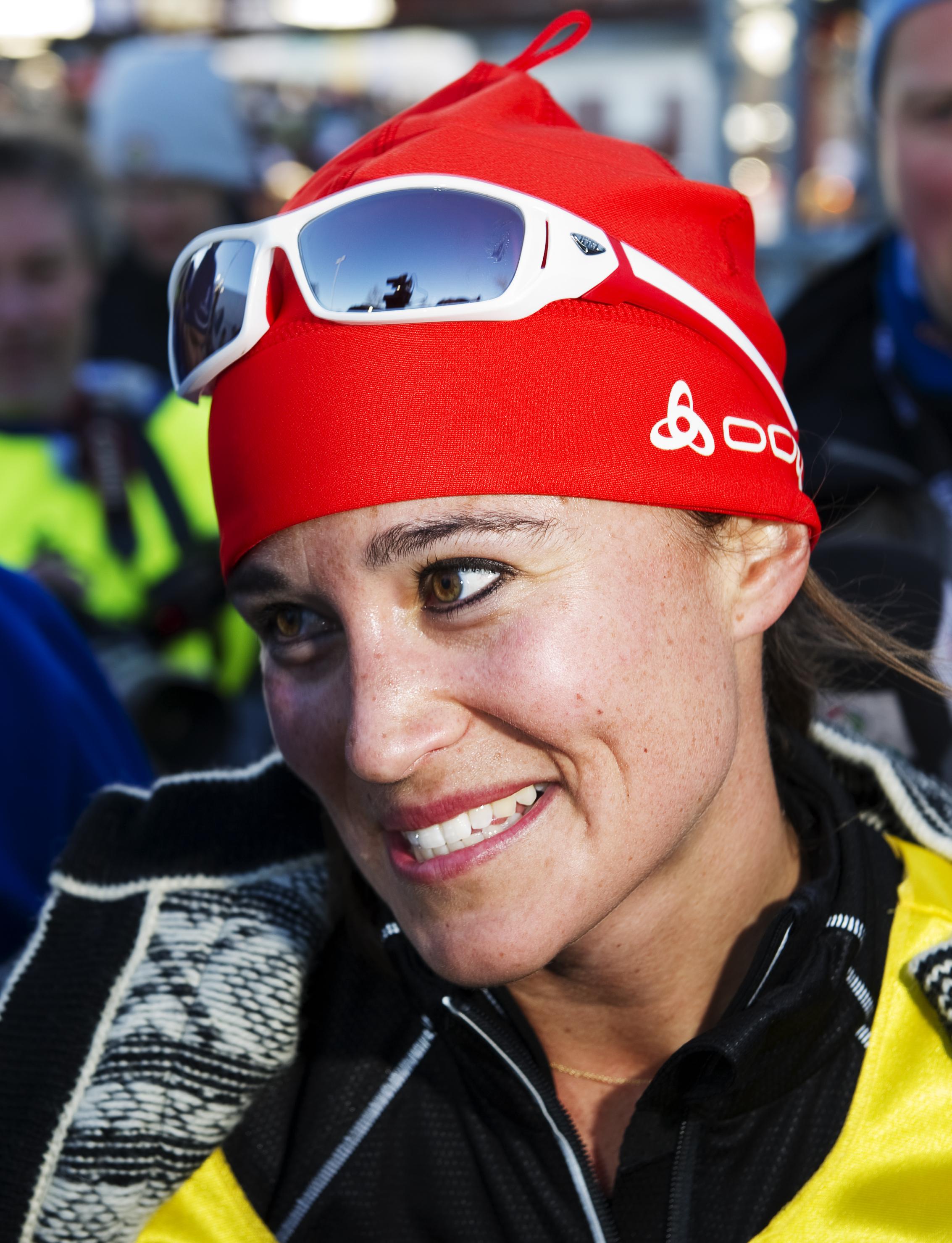 Pippa Middleton spoke after a cross-country ski race.