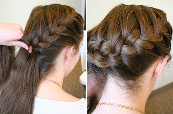 How to do a side french braid popsugar beauty continue this braiding pattern until you are about one inch away from the right neckline at this point start to braid horizontally across to the left solutioingenieria