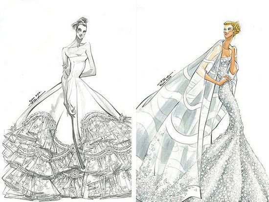 Jennifer Aniston\'s Reem Acra Wedding Dress Sketches, Azealia Banks ...