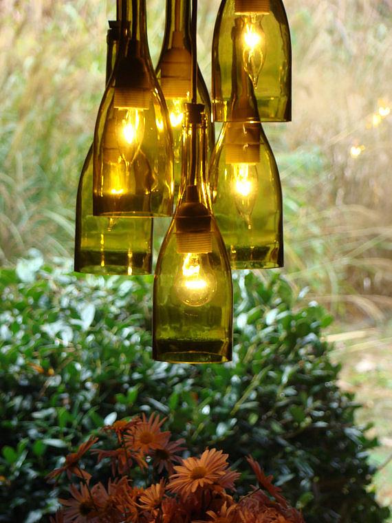 Recycled Wine Bottle Lighting – Wine Bottle Chandelier