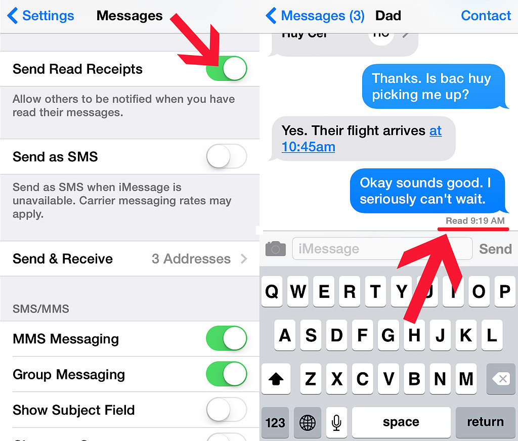 Enable/Disable read receipts.