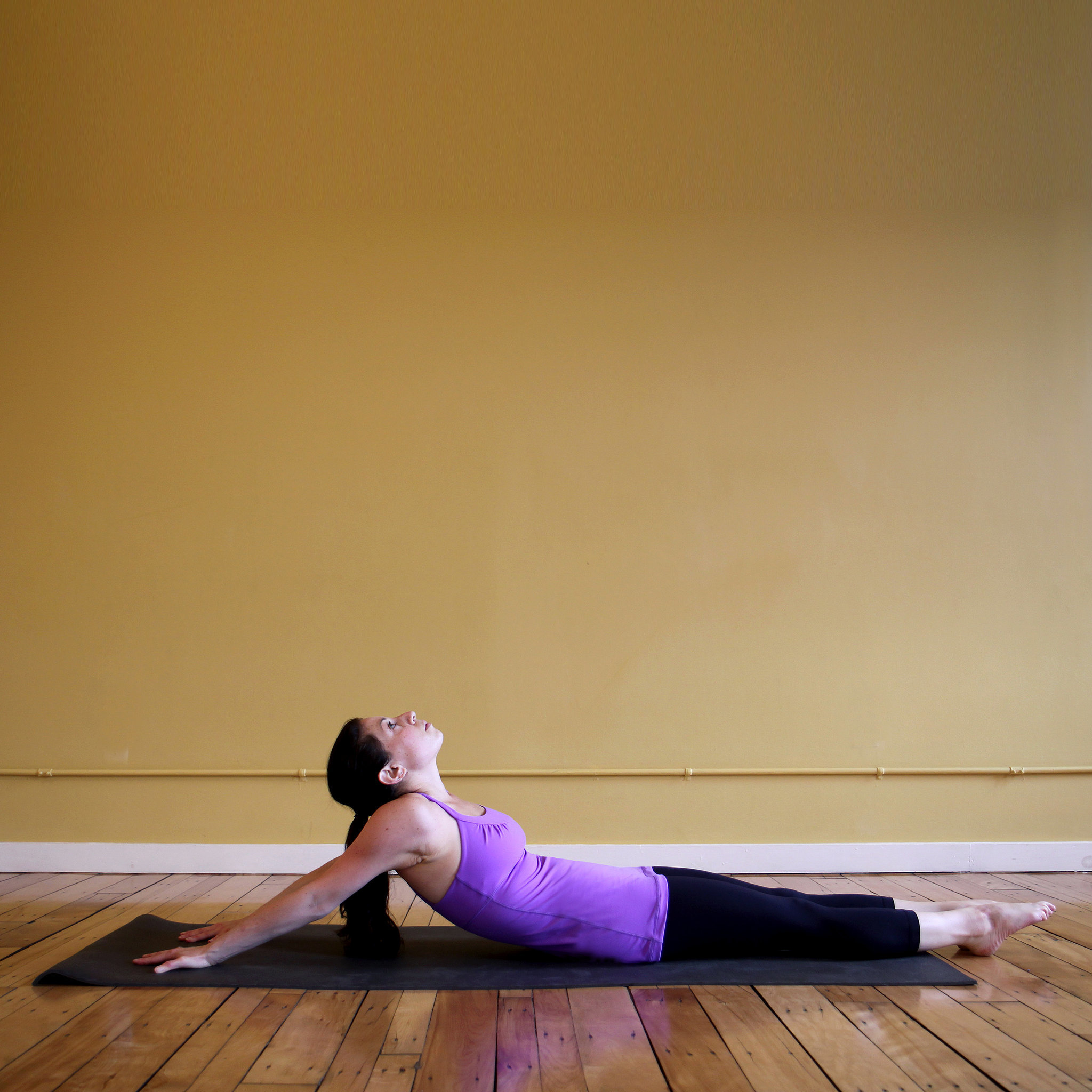 Chest and shoulder stretch popsugar fitness for Floor yoga stretches