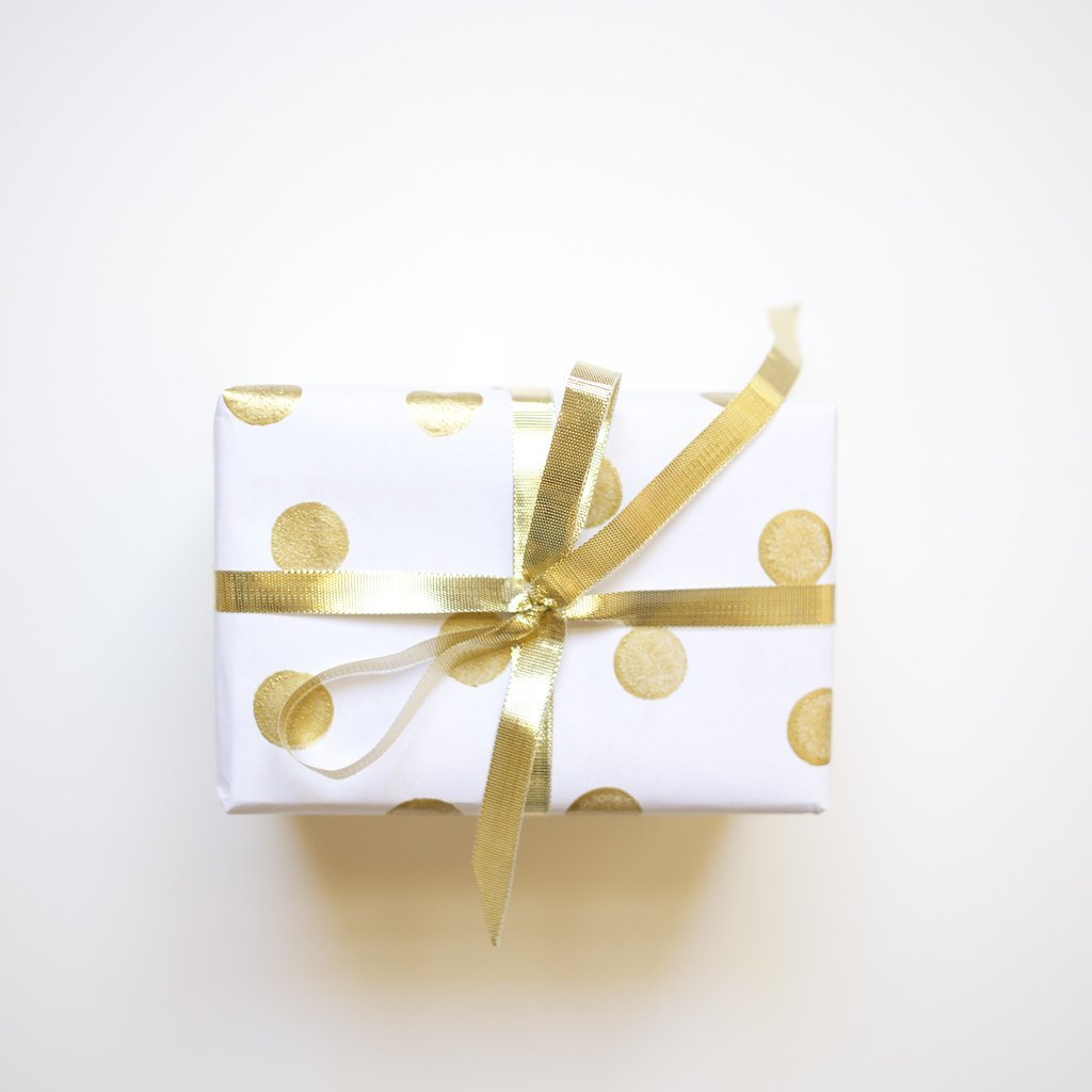 DIY Gold Polka-Dot Gift Wrap POPSUGAR Smart Living