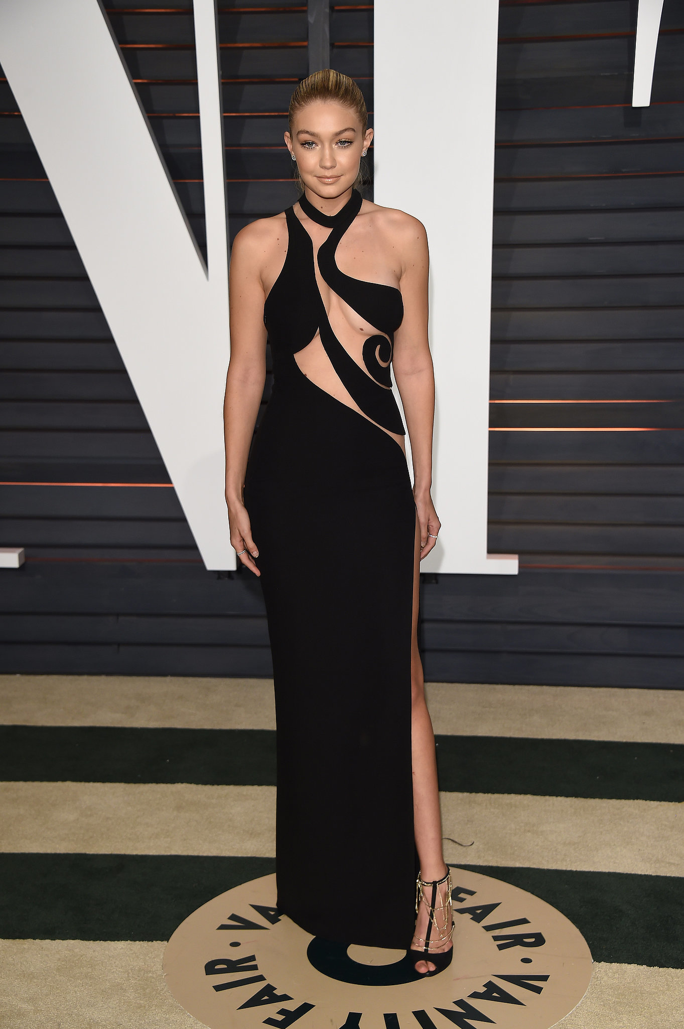 Gigi Hadid black cut out formal dress