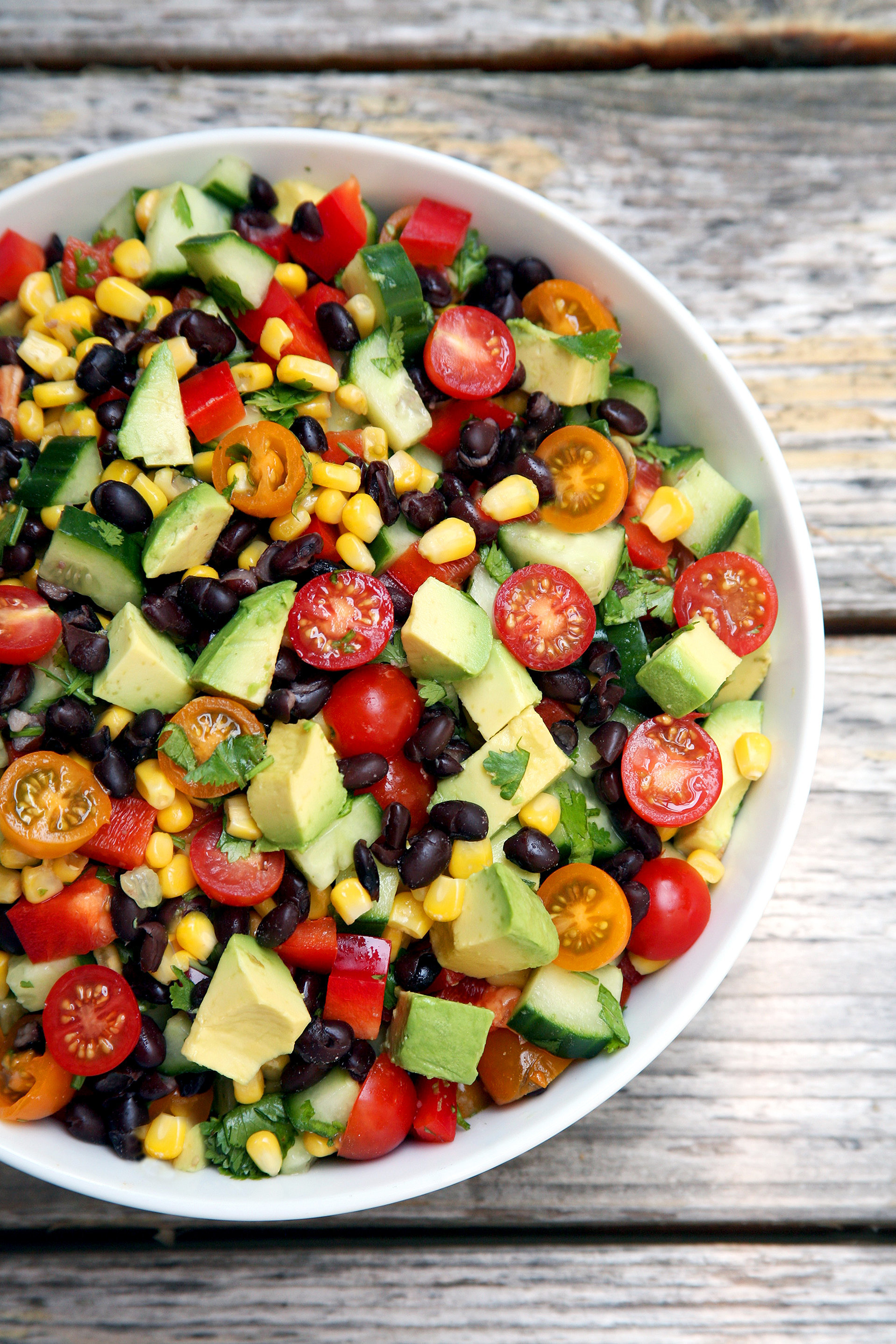 Cucumber, Black Bean, Corn, Tomato, and Avocado Salad ...