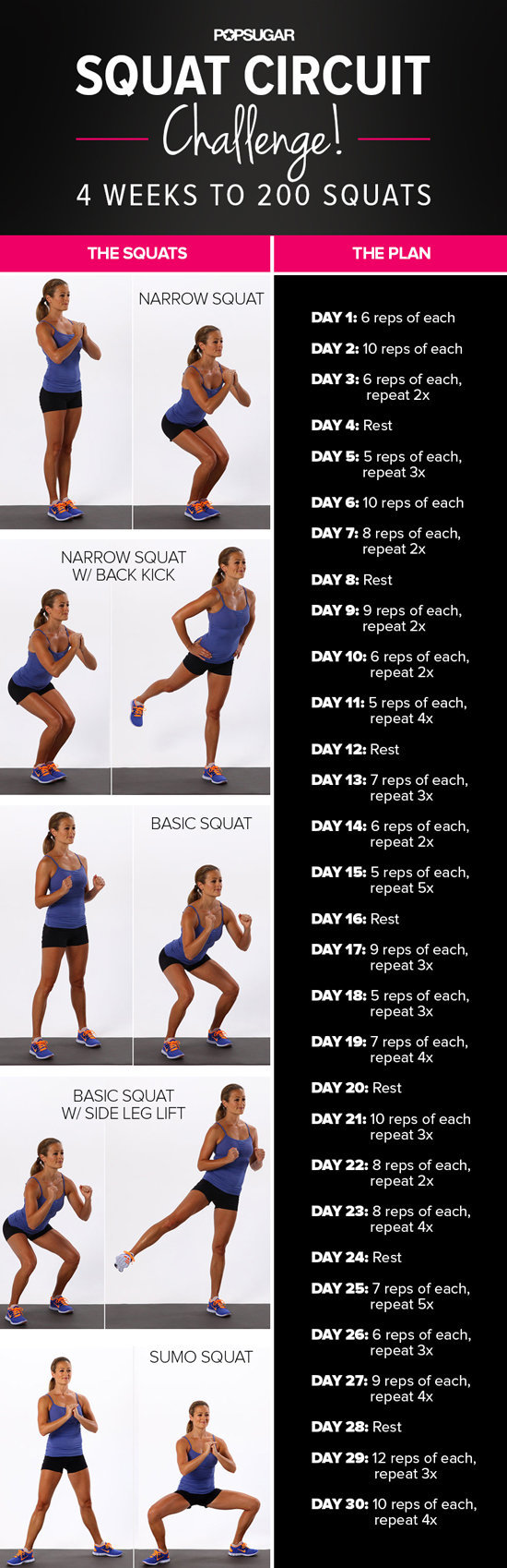 graphic about 30 Day Squat Challenge Printable named 30-Working day Squat Situation POPSUGAR Physical fitness