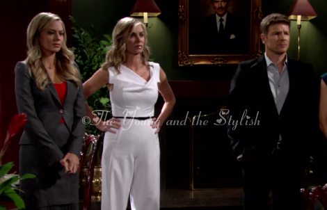 ashley abbott white jumpsuit the young and the restless