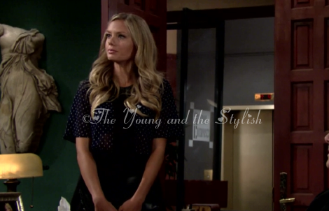 abby newman polka dot navy blue crop top the young and the restless