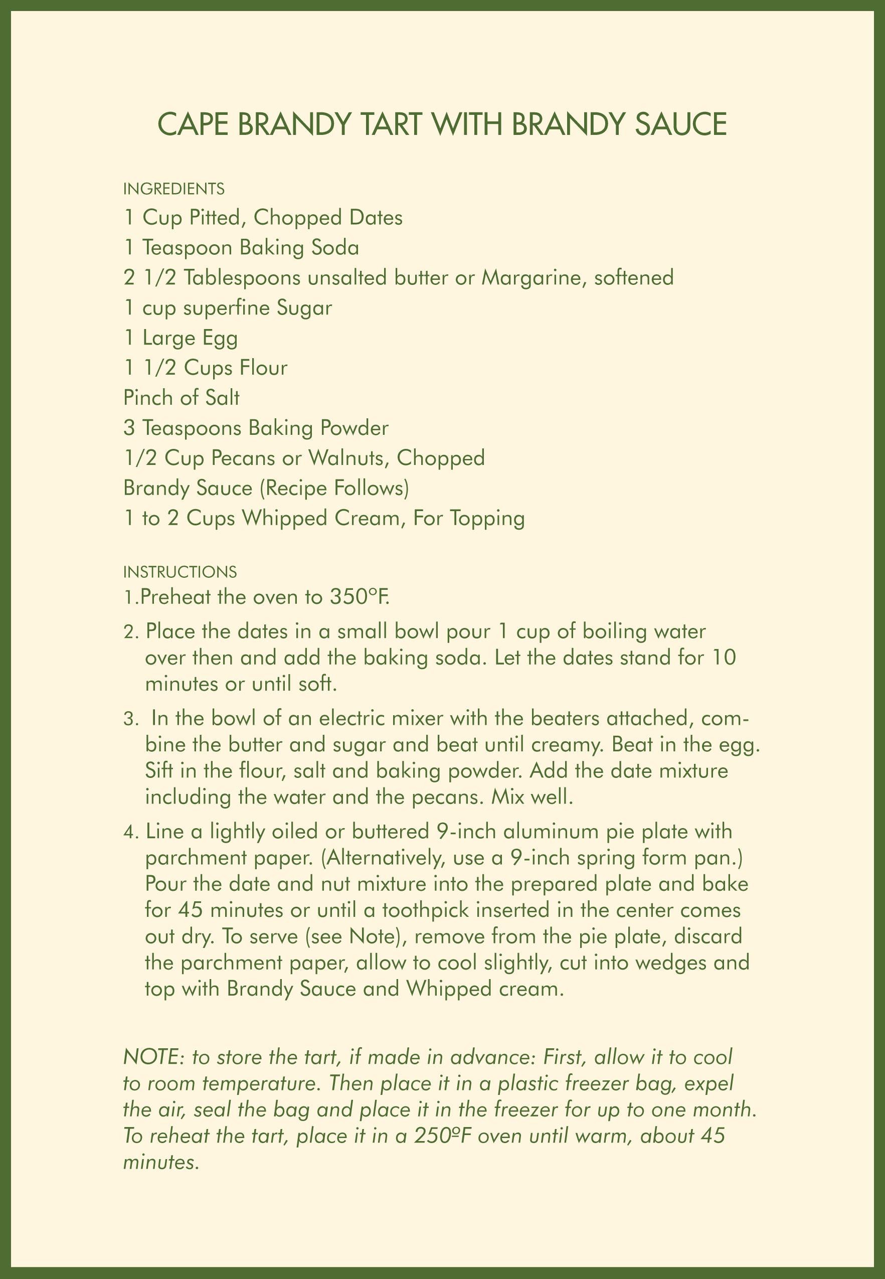 Cafe Brandy Tart With Brandy Sauce