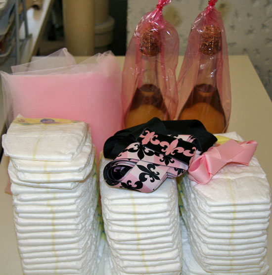 Diapers, Ribbon, Tulle and Champagne