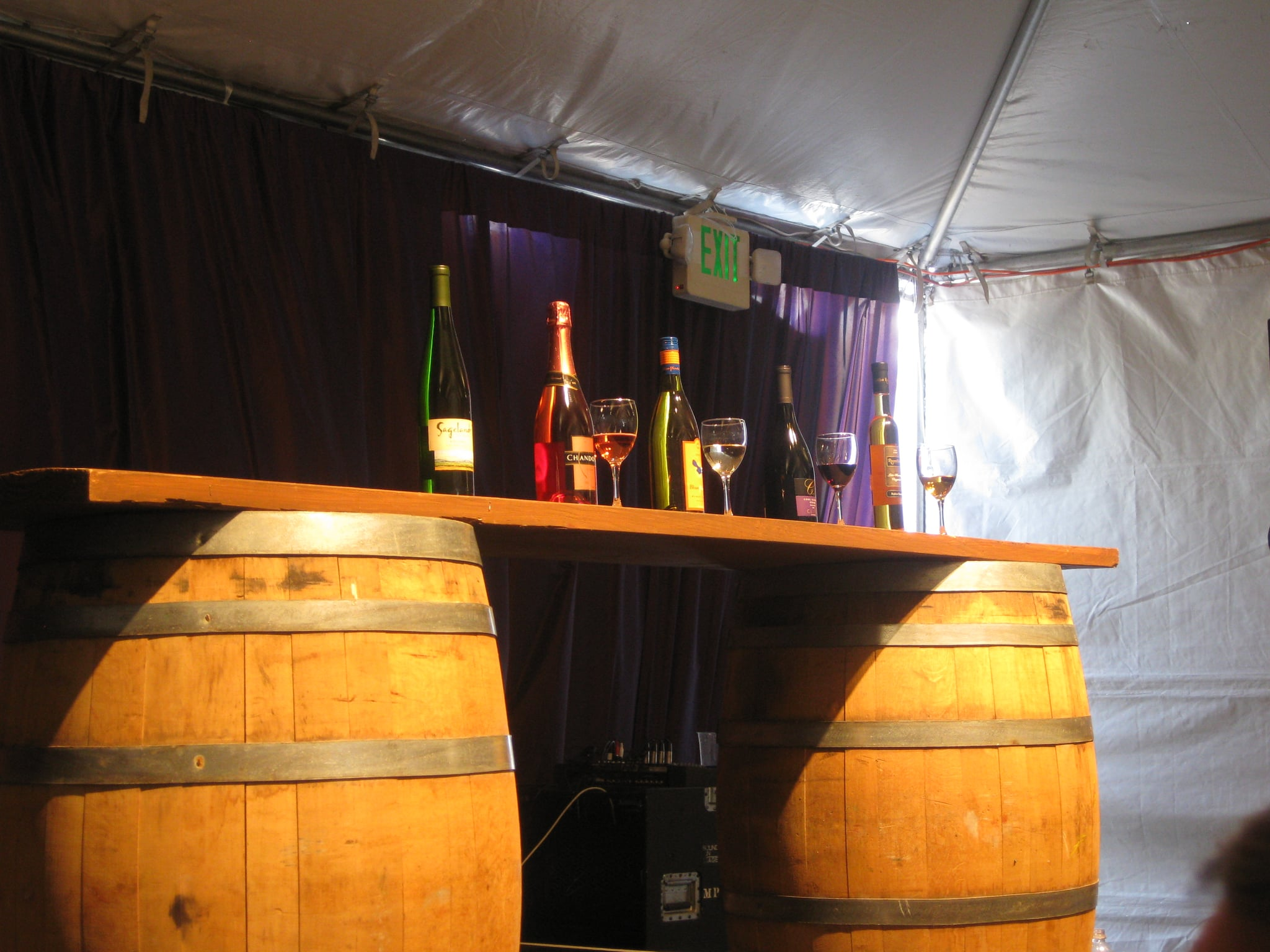 The five wines we tasted on display.