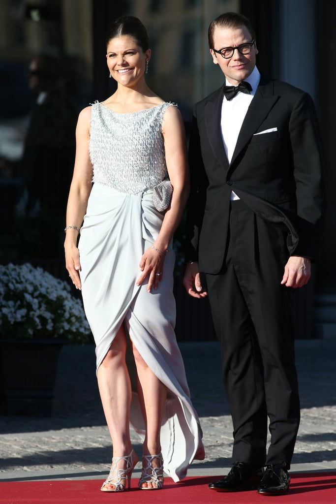 Crown Princess Victoria of Sweden wearing a Jenny Packham dress at The Grand Hotel in 2013.