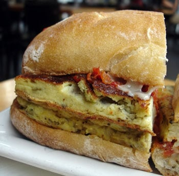 Onion Frittata Sandwich With Roasted Tomato and Cheddar