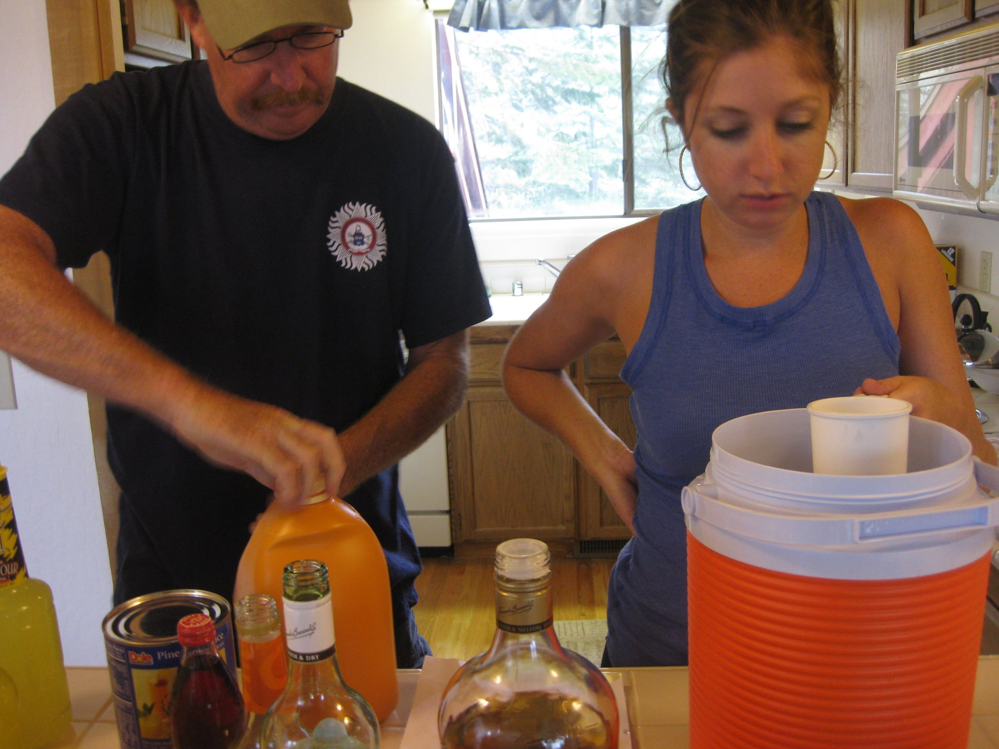 My dad helped me figure out the correct proportions of alcohol to juice.