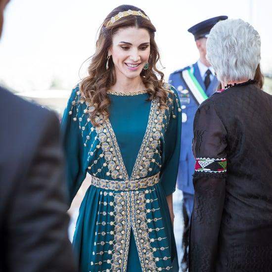 Queen Rania Teal Dress at Great Arab Revolt Celebration 2016