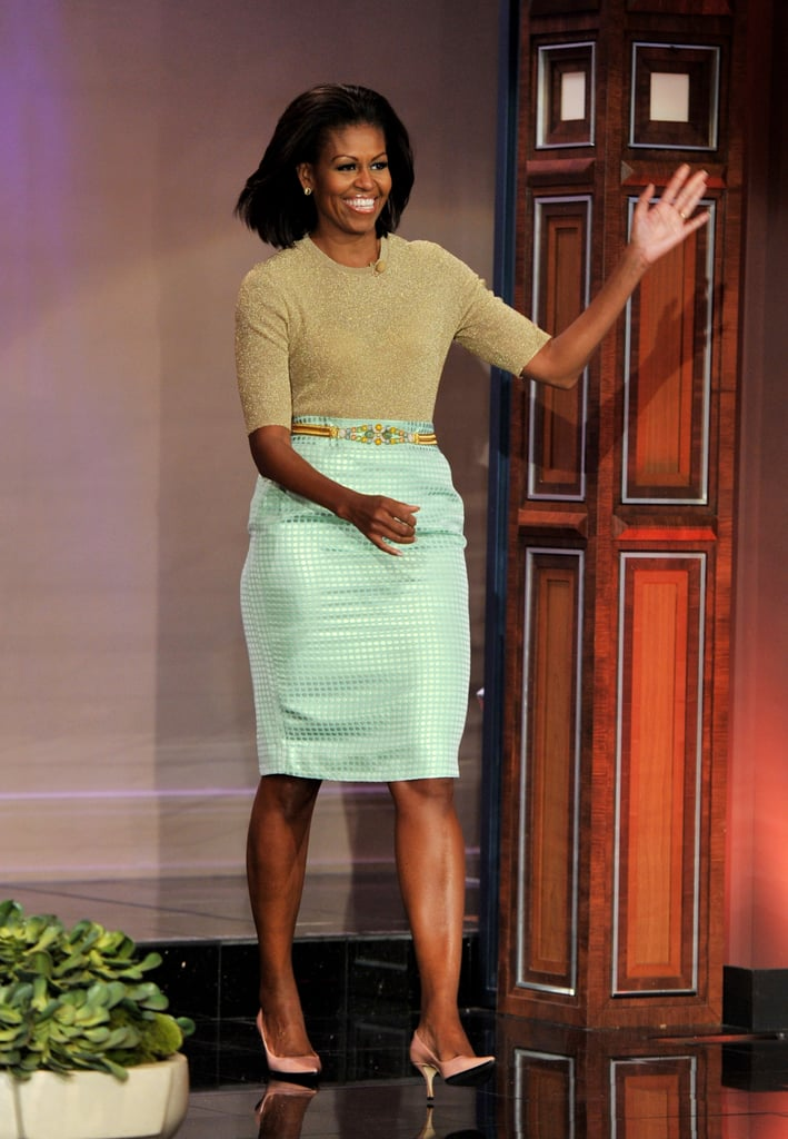 Michelle Obama wearing a J.Crew ensemble for a visit to The Tonight Show in 2012.