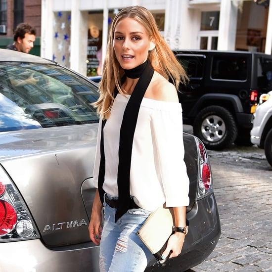 Olivia Palermo trägt Skinny Scarfs auch im Hochsommer