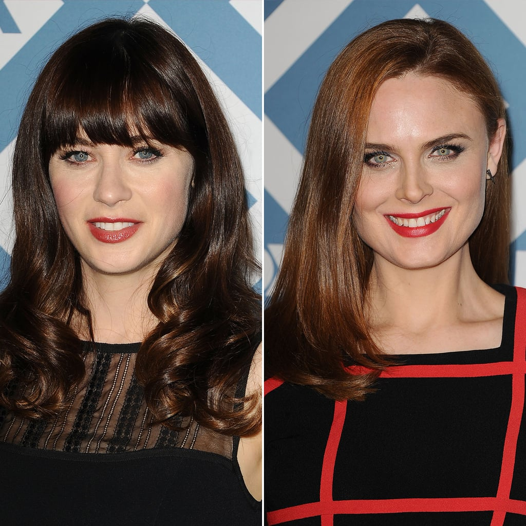 Zooey Deschanel Red Lipstick Fox Party 2014 | POPSUGAR Beauty