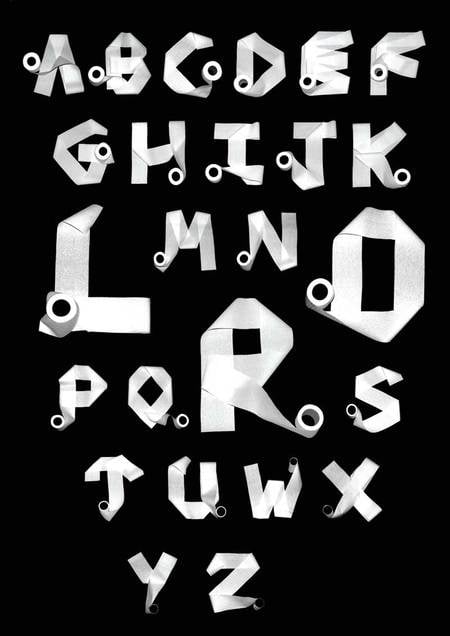 Toilet paper roll alphabet.