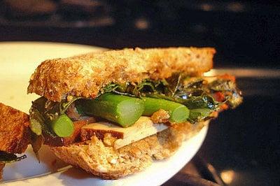 Tofu and Chinese Broccoli Sandwich