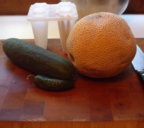 Spicy Cantaloupe and Cucumber Paletas