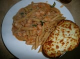 Shrimp Penne in Cream Sauce With Cheesy Garlic Bread