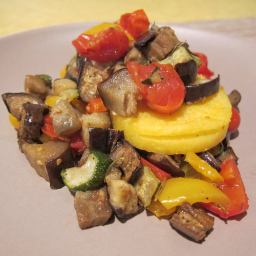Fresh Corn Polenta With Roasted Ratatouille and Ricotta