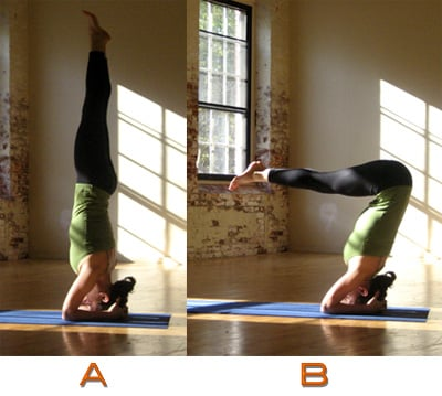 strike a yoga pose headstand a and b  popsugar fitness