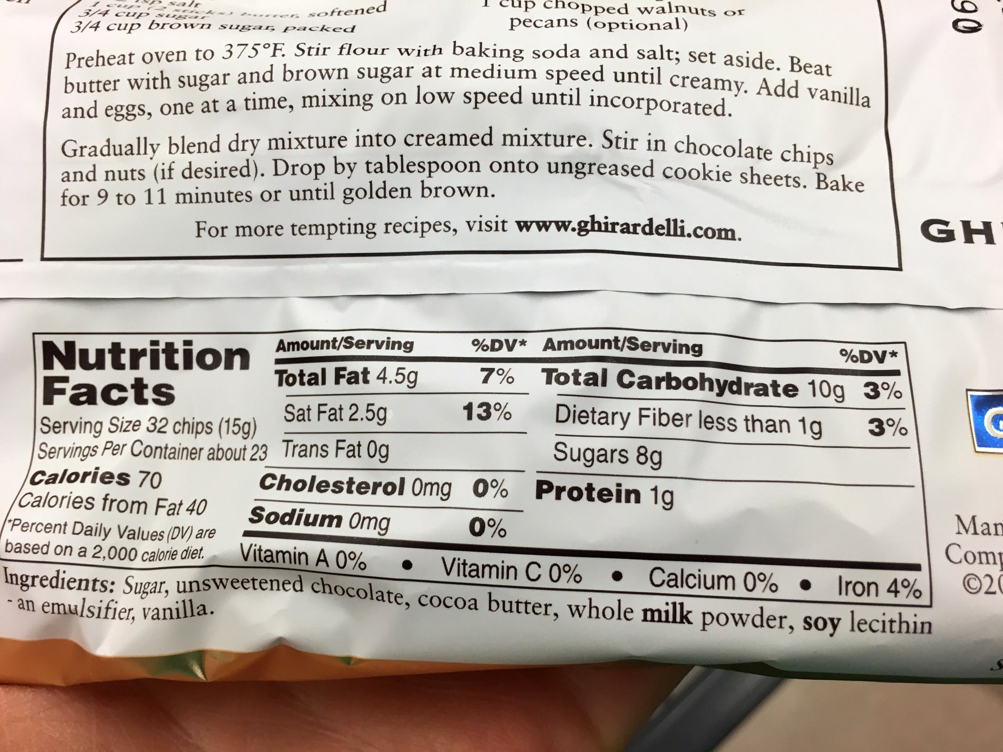 Guittard Milk Chocolate Chips Nutrition
