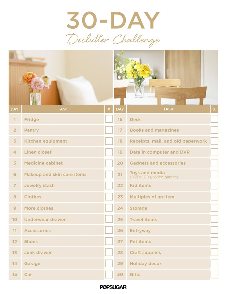 30 day declutter challenge popsugar smart living uk for Declutter house plan