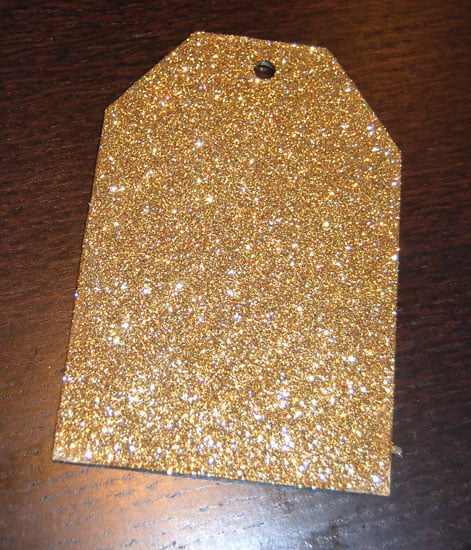 Glittered tag waiting to dry