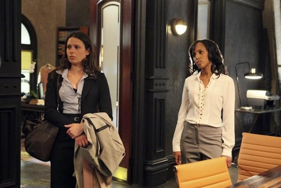 Katie Lowes and Kerry Washington in Scandal.