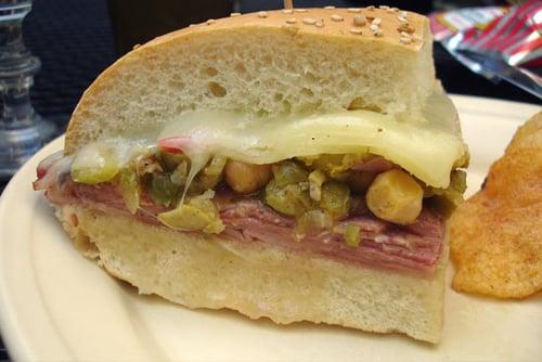 Hot Muffuletta Sandwich