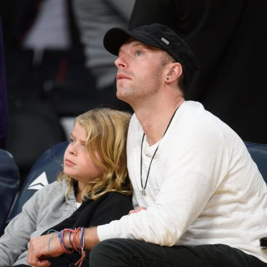 Chris Martin Son Moses at Lakers Game January 2016