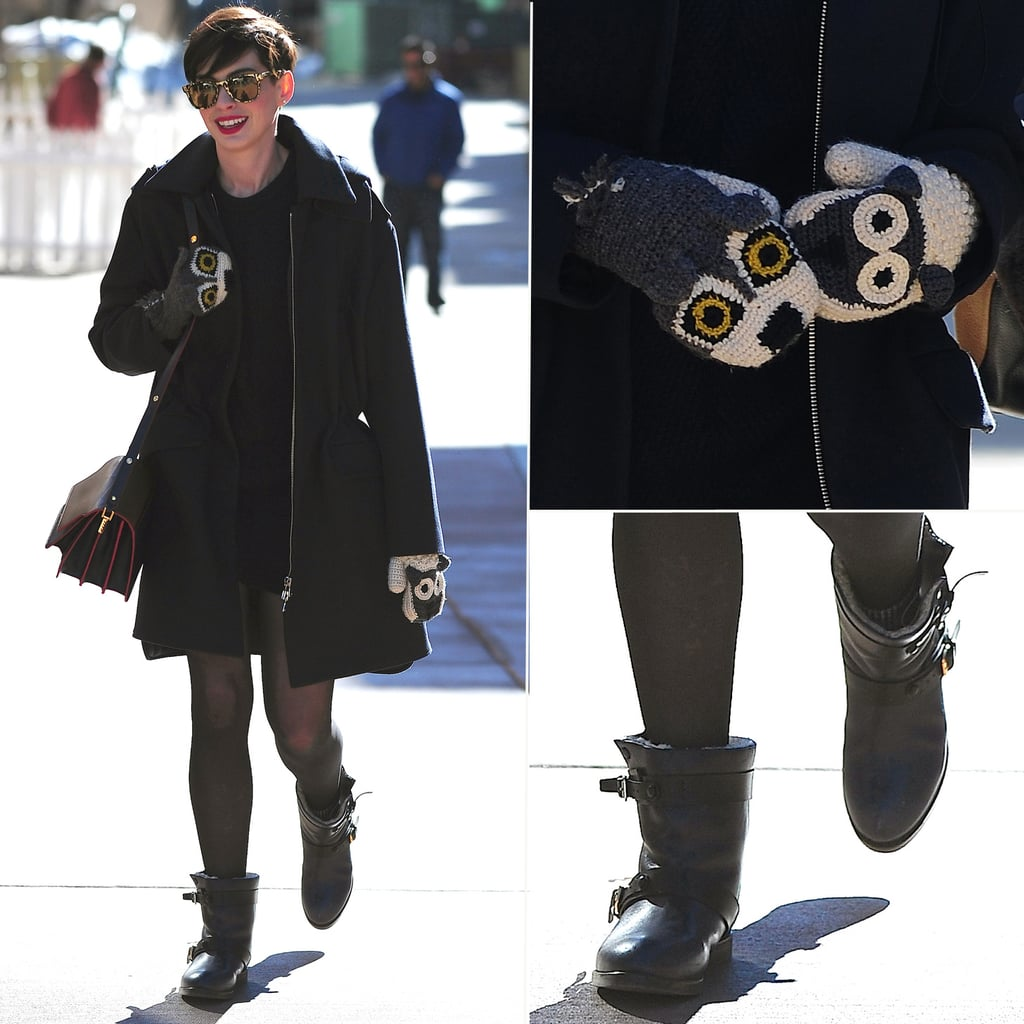 Anne Hathaway Outfits: Anne Hathaway Animal Mittens At Sundance 2014