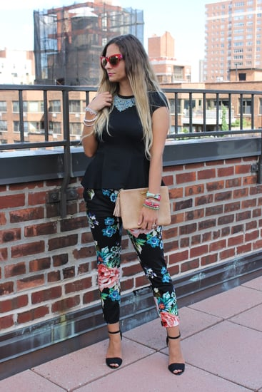 H&M Floral Pants. Topshop Black Peplum Top. Amrita Singh Rosaline Blue Necklace. Ombre Hair Color. Pink Dior Sunglasses
