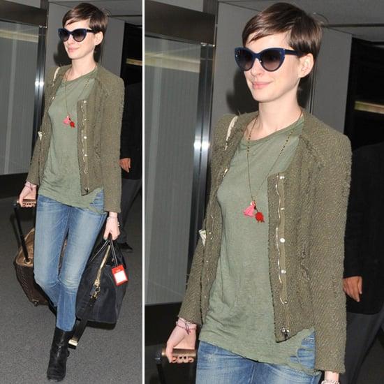 Anne Hathaway Wearing Olive Jacket