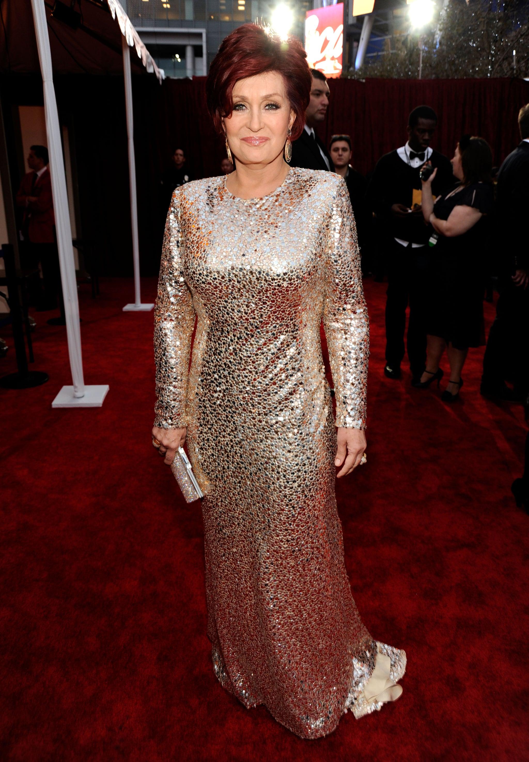 Sharon Osbourne in a glittery dress.