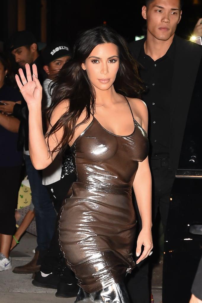 Kim Kardashian Dress Fashion Show Kanye See Through