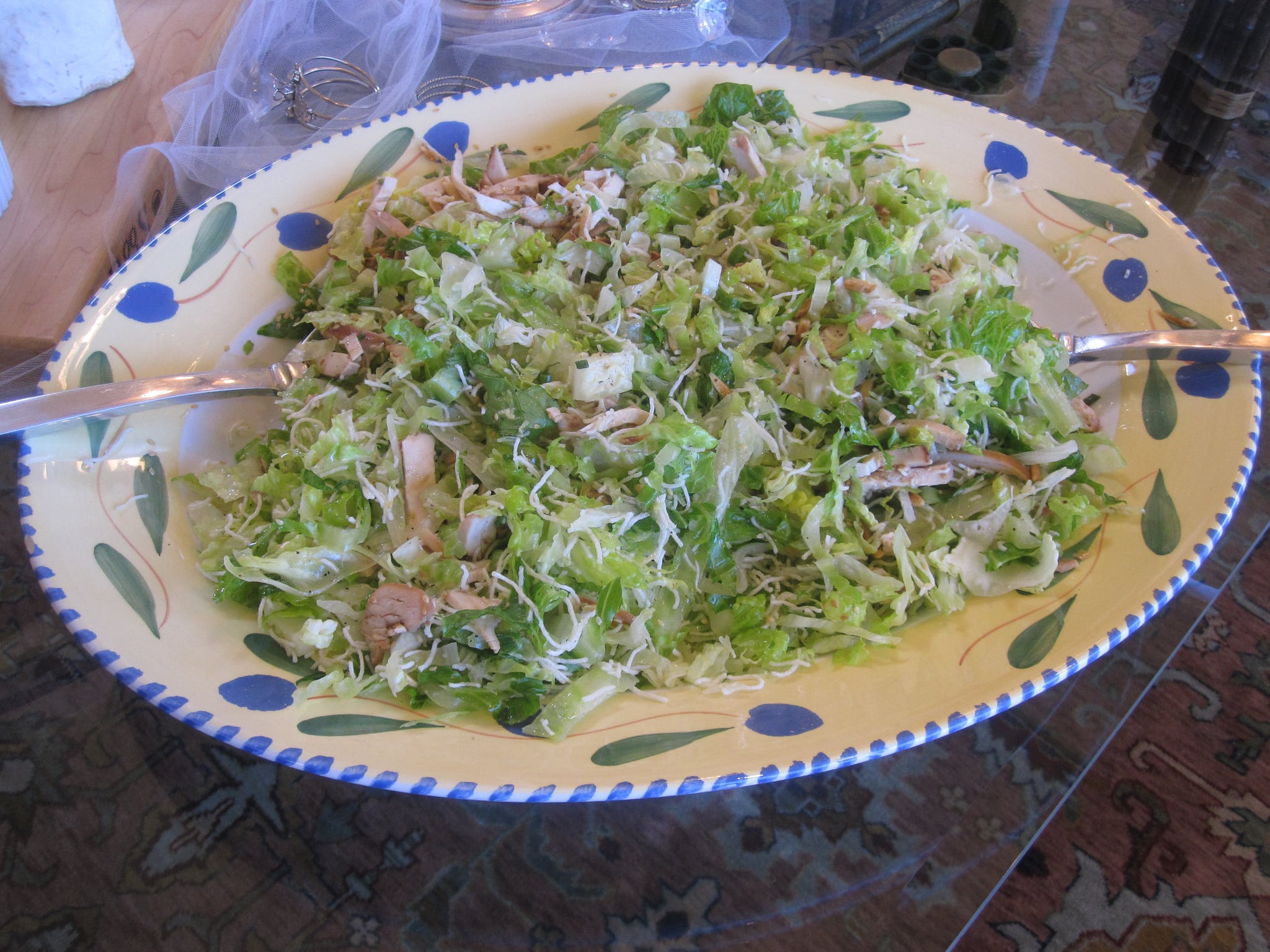 One of the bride's favorite salads is Comforts Cafe Chinese chicken salad. It was served family style on a large platter.