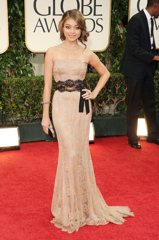 Sarah Hyland in vintage at the Golden Globes.