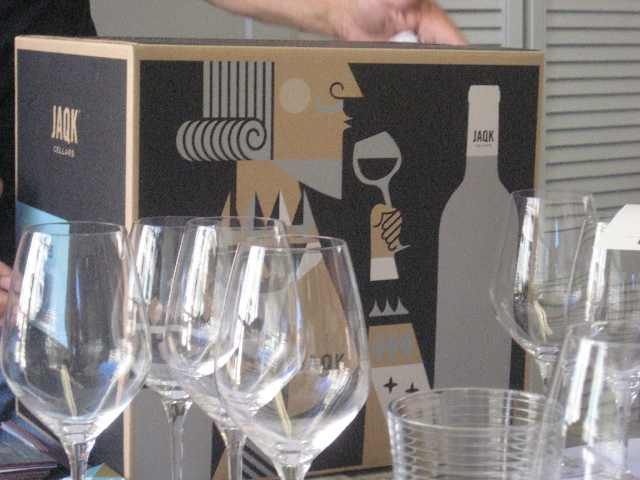 Empty glasses await wine.