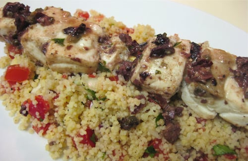 Mahi-Mahi Skewers With Tapenade and Couscous