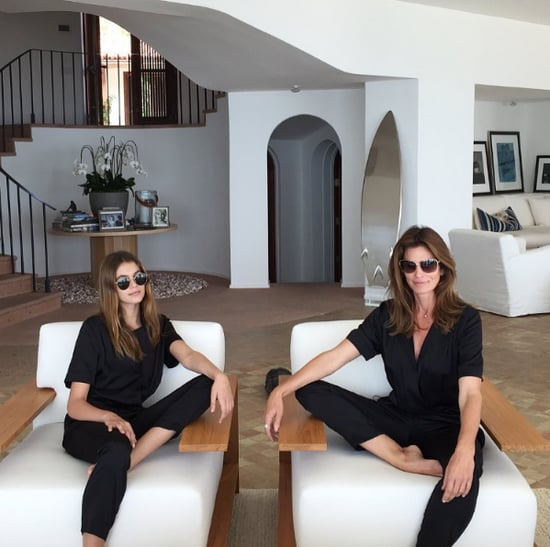Cindy Crawford and Kaia Gerber in Black Coco Rocha Jumpsuits